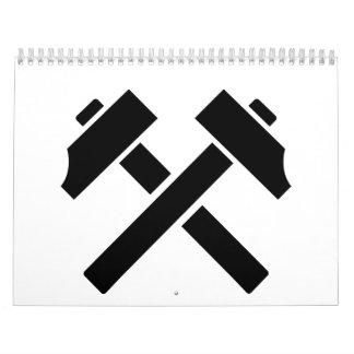 Crossed black hammer calendar