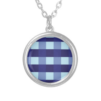 Crossed Blue Pattern Round Pendant Necklace