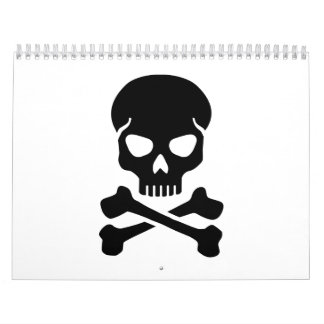 Crossed bones skull calendar