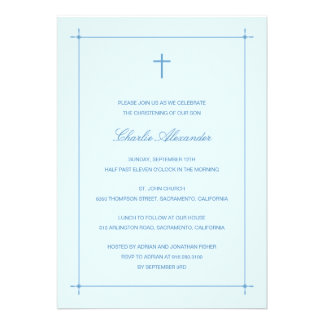 Crossed Border Baptism Christening Invitation Personalized Invitations