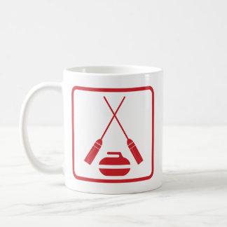 Crossed Brooms Curling Retro Coffee Mug