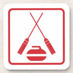 Crossed brooms retro drink coasters