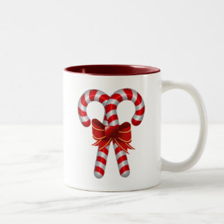 Crossed Candy Canes Two-Tone Coffee Mug