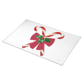 Crossed Candy Canes with Bow Placemat