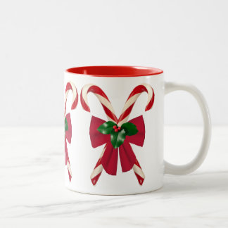 Crossed Candy Canes with Bow Two Tone Mug