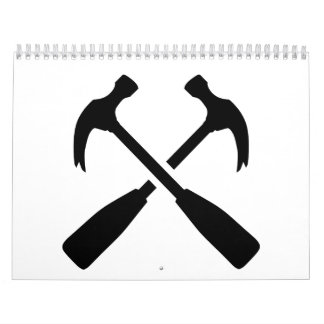 Crossed carpenter hammer calendar