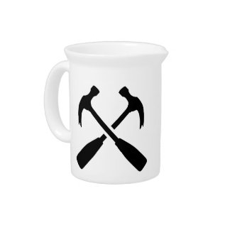 Crossed carpenter hammer drink pitcher