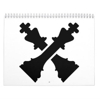 Crossed chess king calendar