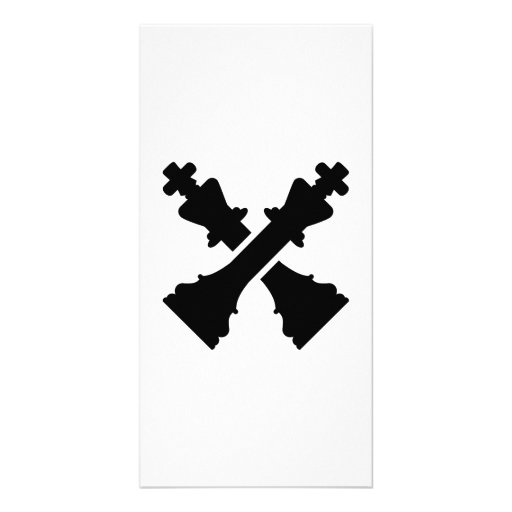 Crossed chess king photo card