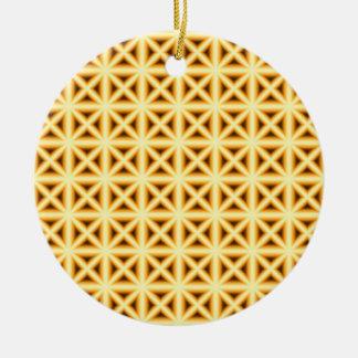 Crossed Chex Ceramic Ornament