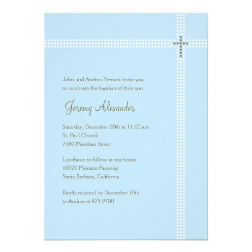 Crossed Corner Baptism/Christening Invitation