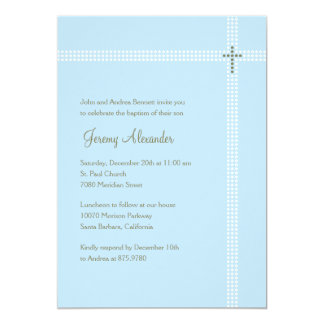 "Crossed Corner Baptism/Christening Invitation 5"" X 7"" Invitation Card"