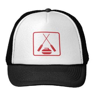 Crossed curling brooms truckers cap
