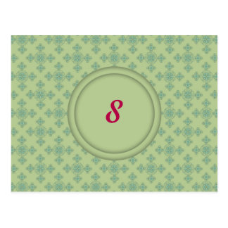 Crossed Damask Table Nuber Template Postcard