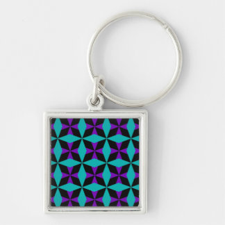 Crossed Diamond Pattern Silver-Colored Square Keychain