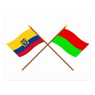 Crossed Ecuador and Bolívar flags Postcard