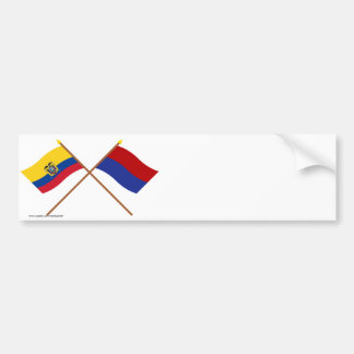 Crossed Ecuador and Cotopaxi flags Bumper Sticker