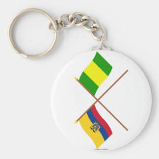 Crossed Ecuador and El Oro flags Basic Round Button Keychain