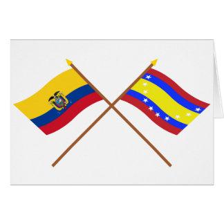 Crossed Ecuador and Loja flags Card