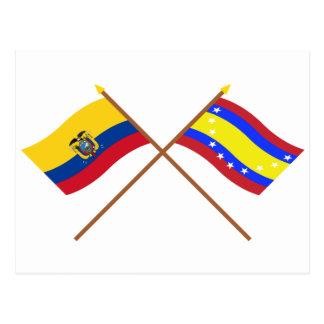 Crossed Ecuador and Loja flags Postcard