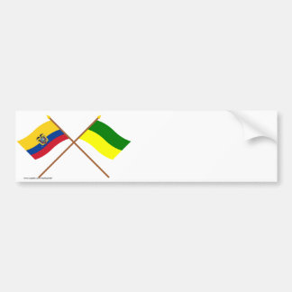 Crossed Ecuador and Morona-Santiago flags Car Bumper Sticker