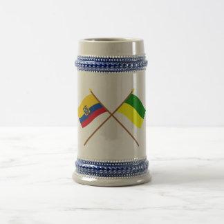 Crossed Ecuador and Morona-Santiago flags 18 Oz Beer Stein