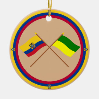 Crossed Ecuador and Morona-Santiago flags Double-Sided Ceramic Round Christmas Ornament