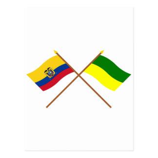 Crossed Ecuador and Morona-Santiago flags Postcard