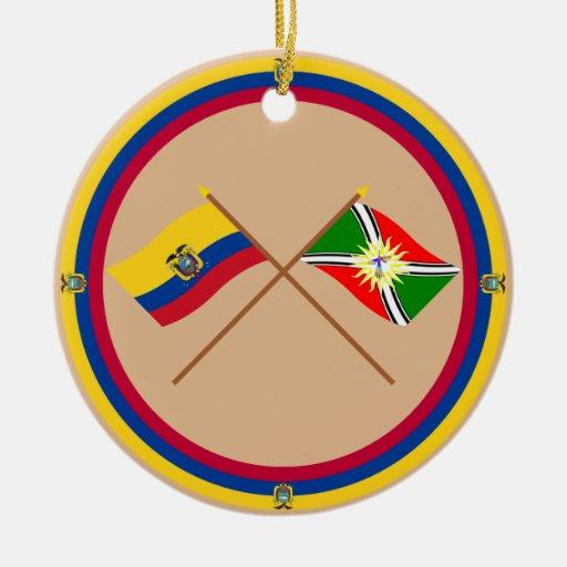 Crossed Ecuador and Santo Domingo flags Christmas Tree Ornament