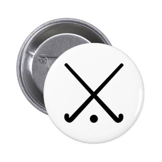 Crossed Field hockey clubs Pinback Button