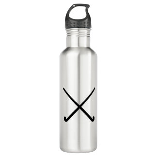 Crossed Field Hockey Sticks Graphic Stainless Steel Water Bottle