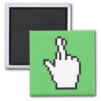 Crossed Fingers Cursor 2 Inch Square Magnet