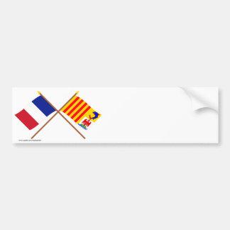 Crossed flags, France & Provence-Alpes-Côte-d'Azur Bumper Sticker