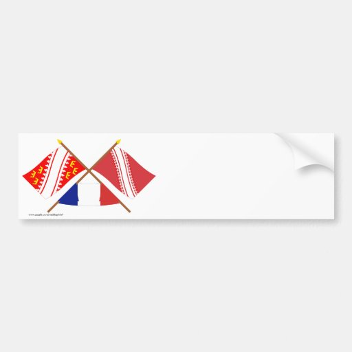 Crossed flags of Alsace and Bas-Rhin Car Bumper Sticker