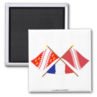 Crossed flags of Alsace and Bas-Rhin Magnet