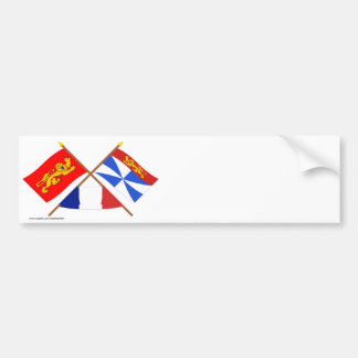 Crossed flags of Aquitaine and Gironde Bumper Sticker