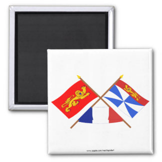 Crossed flags of Aquitaine and Gironde Fridge Magnet