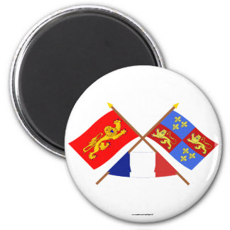 Crossed flags of Aquitaine and Landes Magnets