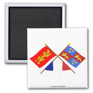 Crossed flags of Aquitaine and Landes Fridge Magnet