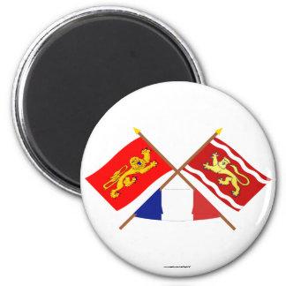 Crossed flags of Aquitaine and Lot-et-Garonne Fridge Magnets