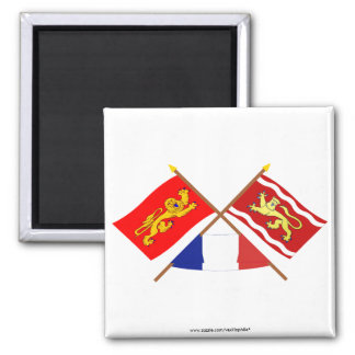 Crossed flags of Aquitaine and Lot-et-Garonne Refrigerator Magnet