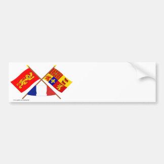 Crossed flags of Aquitaine & Pyrénées-Atlantiques Bumper Stickers