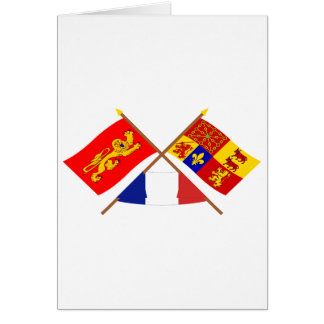 Crossed flags of Aquitaine & Pyrénées-Atlantiques Card