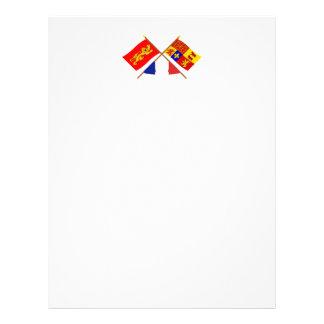 Crossed flags of Aquitaine & Pyrénées-Atlantiques Letterhead