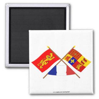 Crossed flags of Aquitaine & Pyrénées-Atlantiques Fridge Magnets