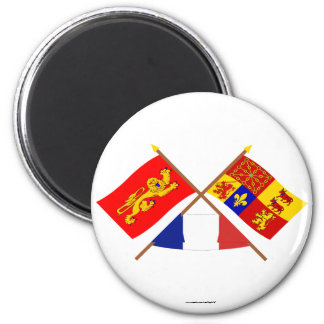 Crossed flags of Aquitaine & Pyrénées-Atlantiques Fridge Magnet