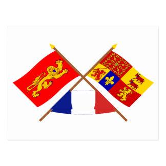 Crossed flags of Aquitaine & Pyrénées-Atlantiques Postcard