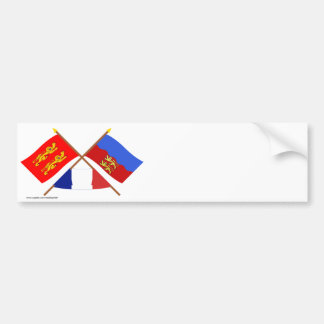 Crossed flags of Basse-Normandie and Calvados Bumper Sticker