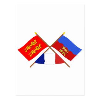 Crossed flags of Basse-Normandie and Calvados Postcard