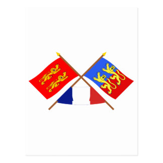Crossed flags of Basse-Normandie and Manche Postcard